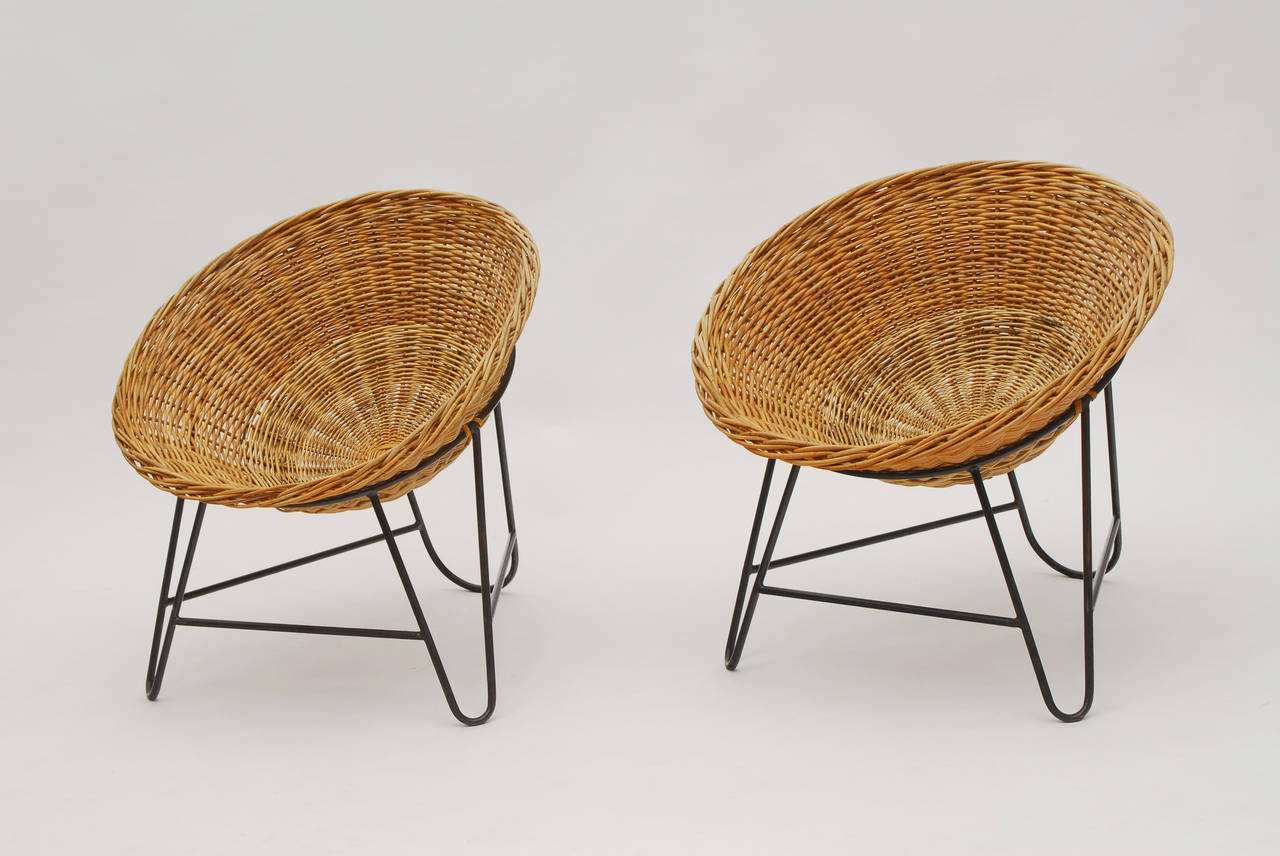 1950s Set of Two French Wicker Chairs : french rattan chairs - Cheerinfomania.Com