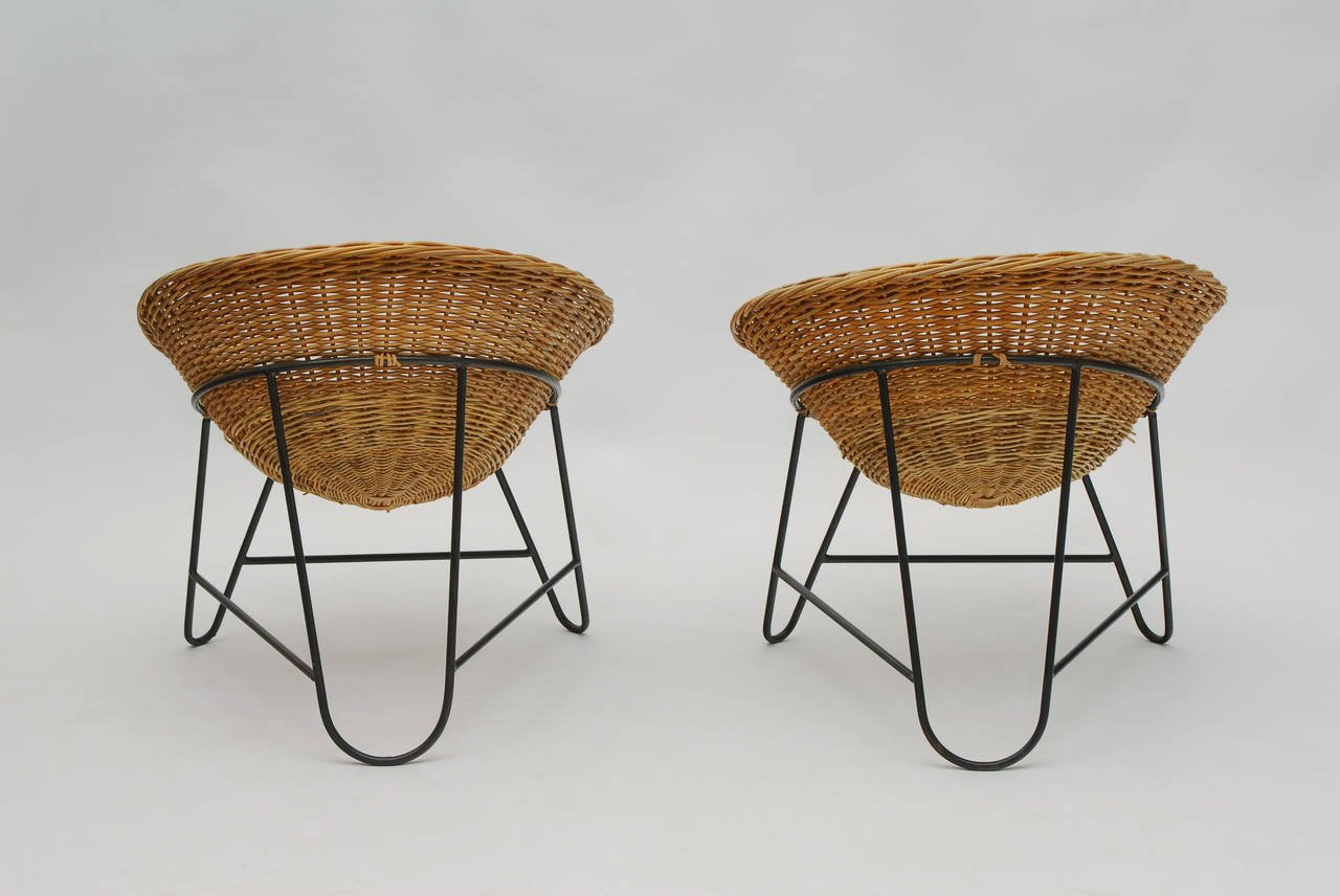 1950s Set Of Two French Wicker Chairs Galerie Gaudium