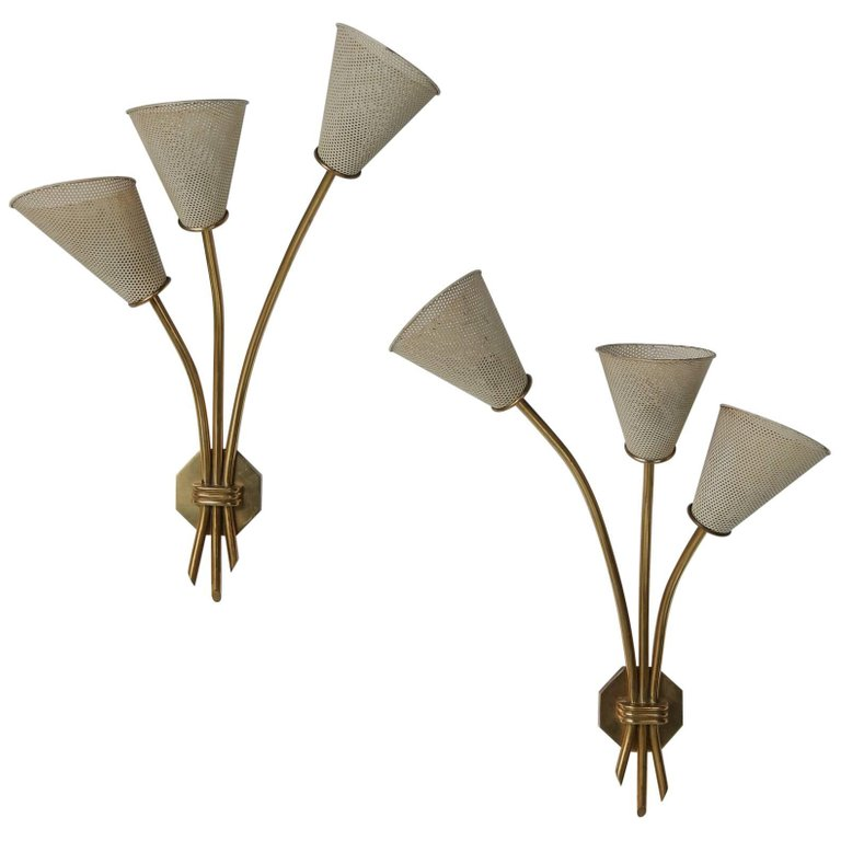 Matégot Style Pair of Wall Lights, France, 1950