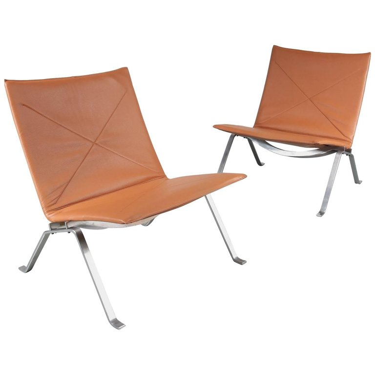 Pair of PK22 Chairs by Poul Kjaerholm for E. Kold Christensen, Denmark, 1960 2