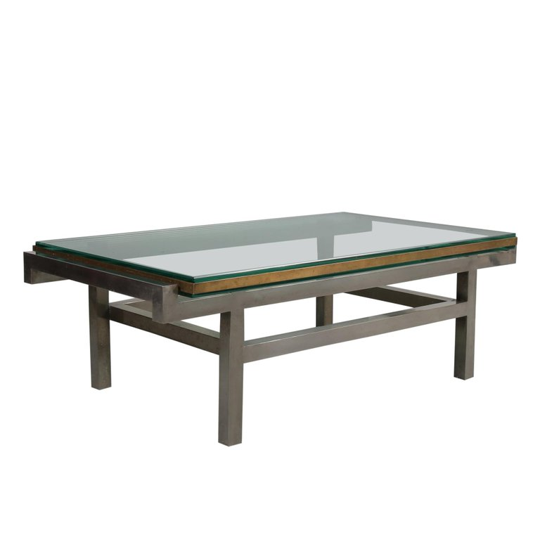 m23057 French Modernist Coffee Table in Steel and Brass, 1960
