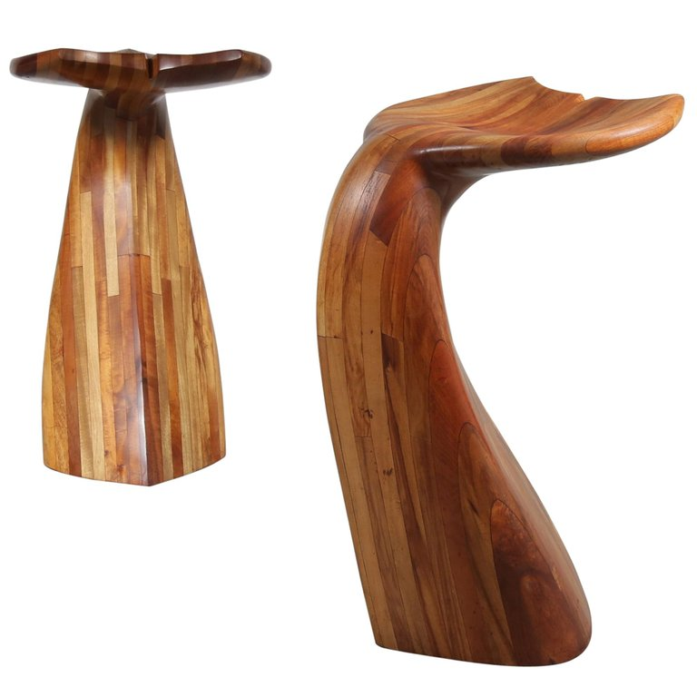 m23074-5 Wooden Whale Tail Bar Stools, 1980s 1
