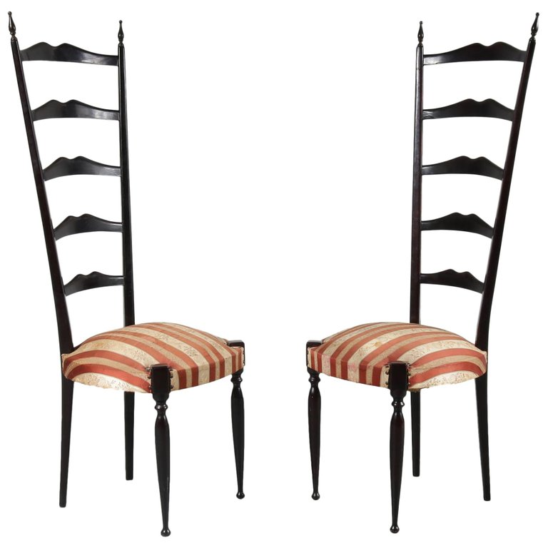 Pair of Paulo Buffa Highback Side Chairs, Italy, 1950