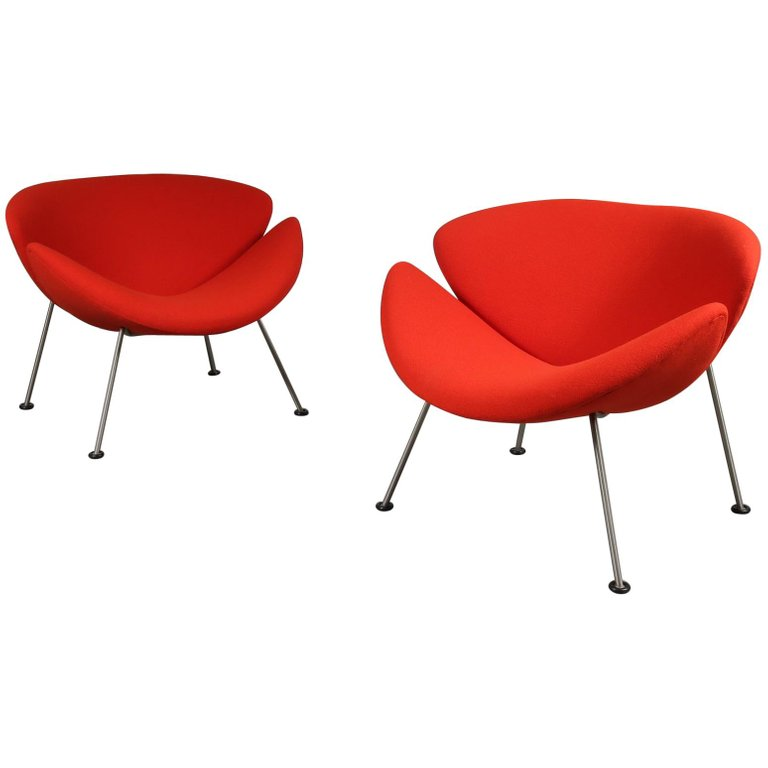 "Pair of Pierre Paulin First Edition ""Orange Slice"" Chairs for Artifort, 1950"