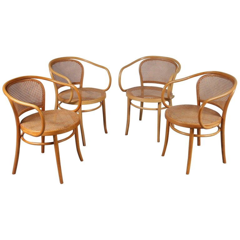 Set of Four Corbusier Armchairs by Michael Thonet, Germany 1920