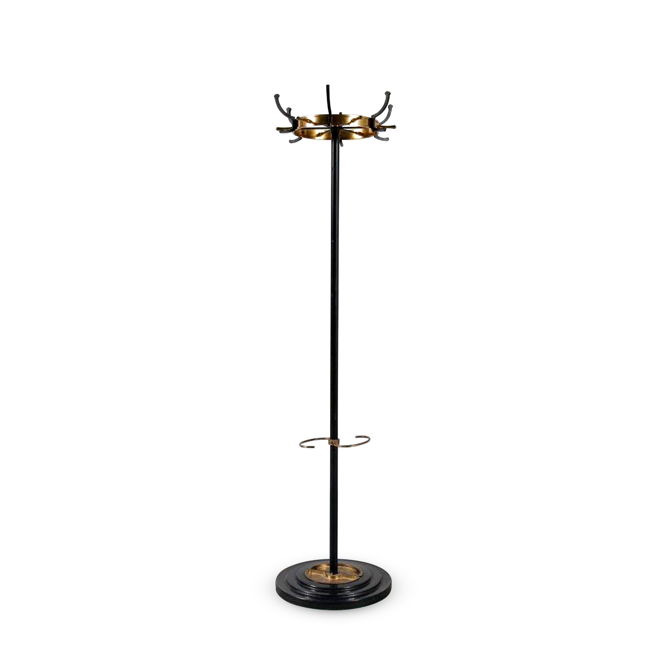 m23638 1950s Black metal with brass free standing coat rack Jacques Adnet France