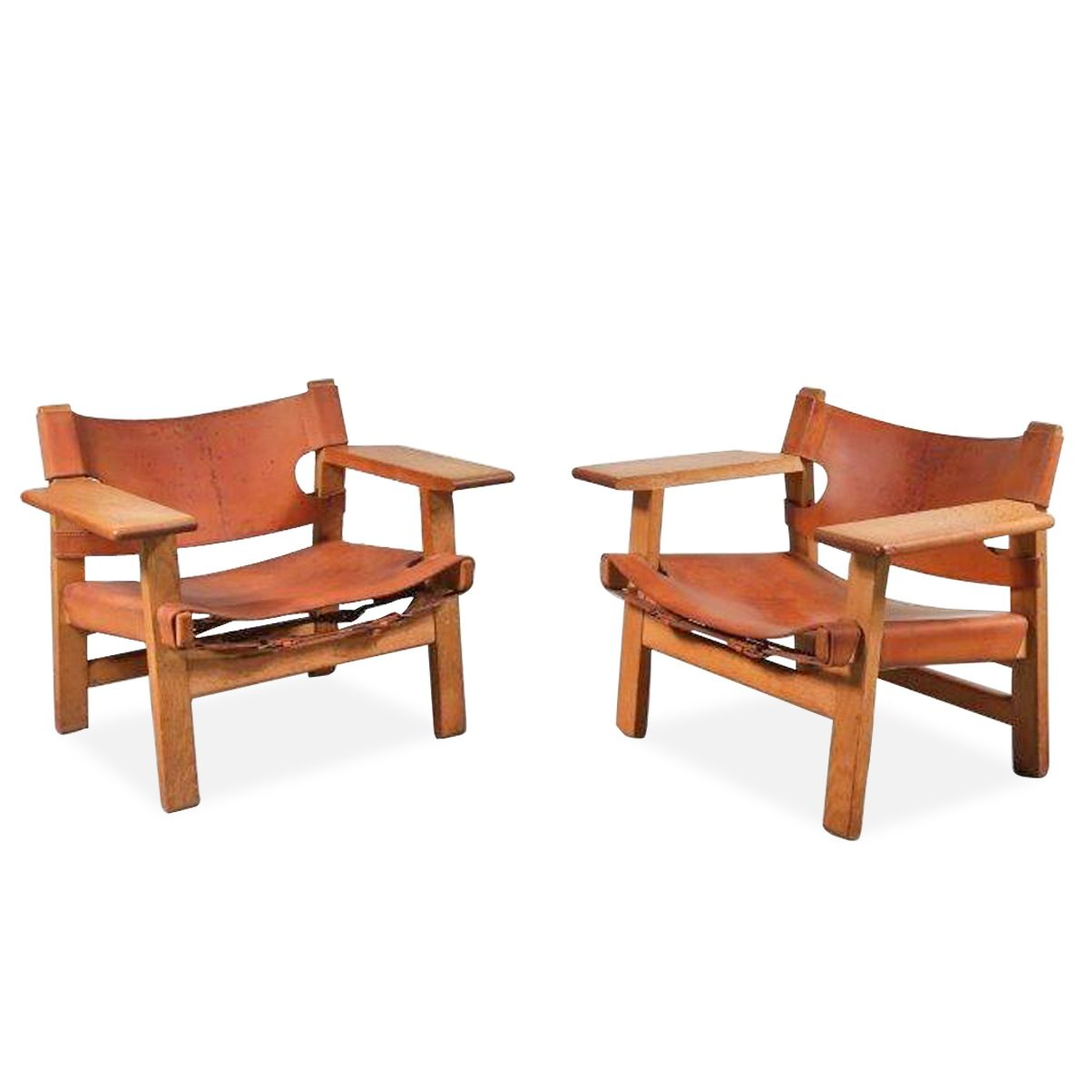 D 190801 (200) A beautiful pair of Spanish chairs, designed by Børge Mogensen for Frederica Stolefabrik, Denmark, circa 1950.