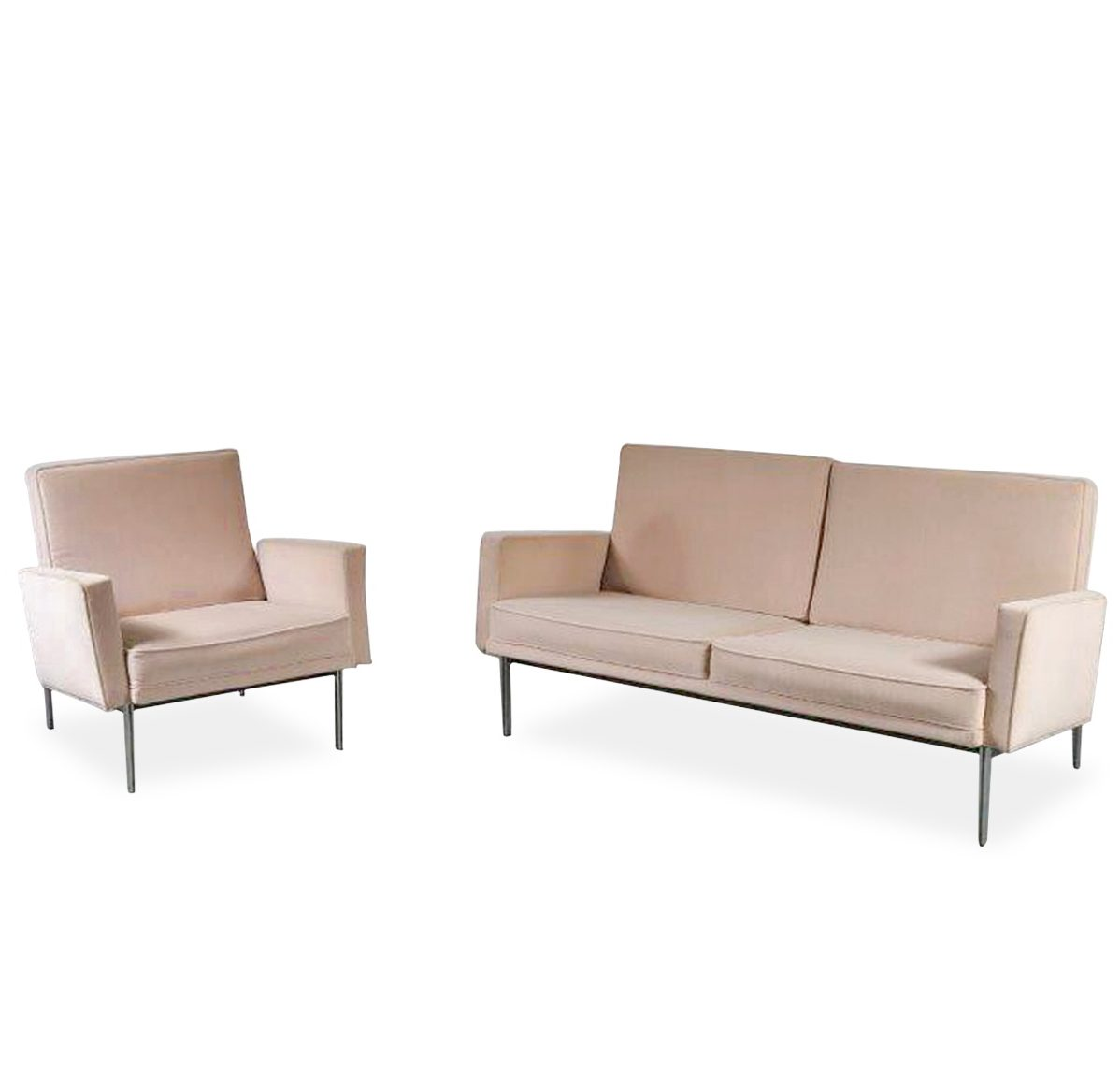 D 190801 (356) m23702 1960s Two-seater sofa + easy chair on chrome metal base with beige upholstery, Parallel Bar series Florence Knoll Knoll Int. / USA