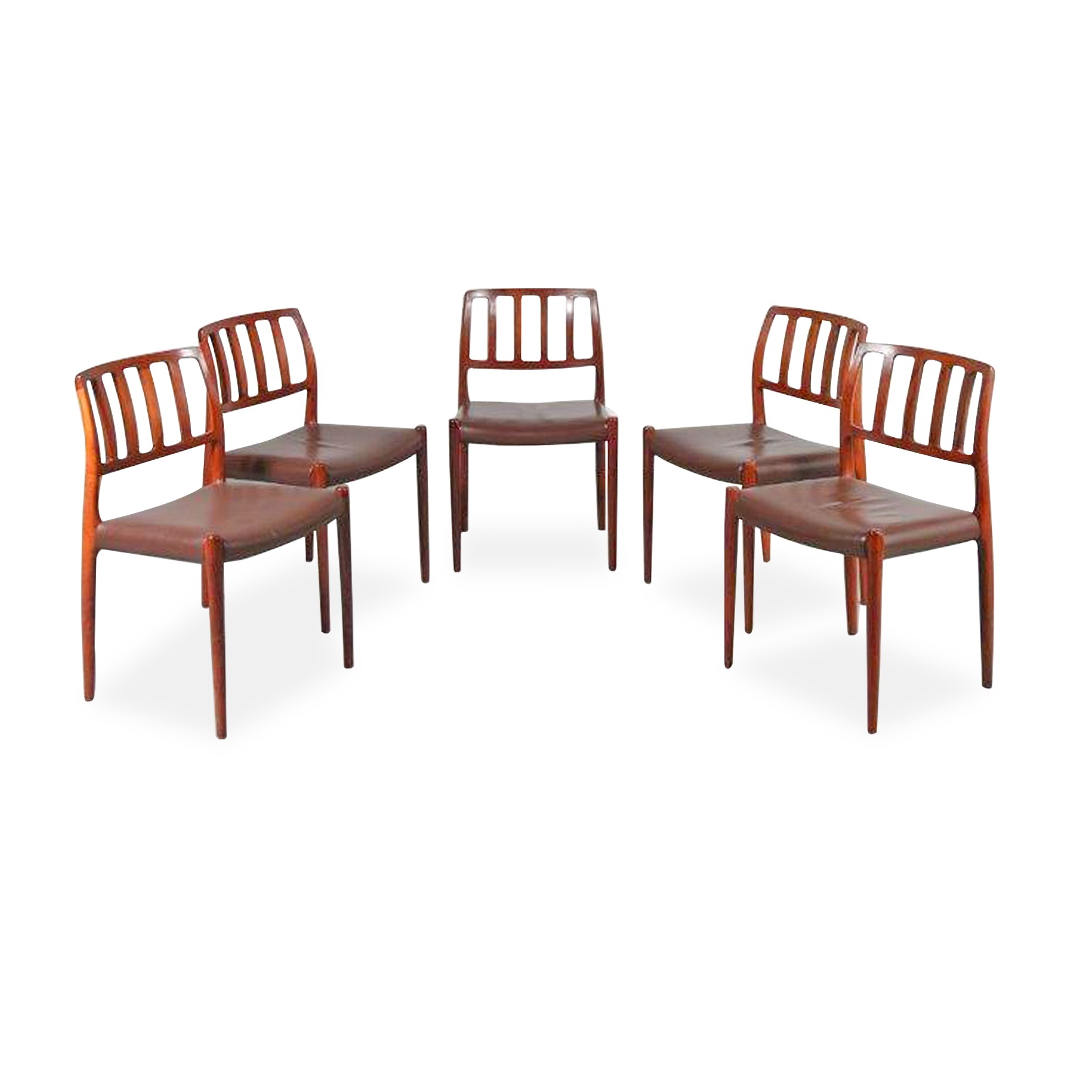 m23534 1960s Unique set of 5 rosewooden dining chairs with original brown leather upholstery Model 83 Moller Moller / Denmark