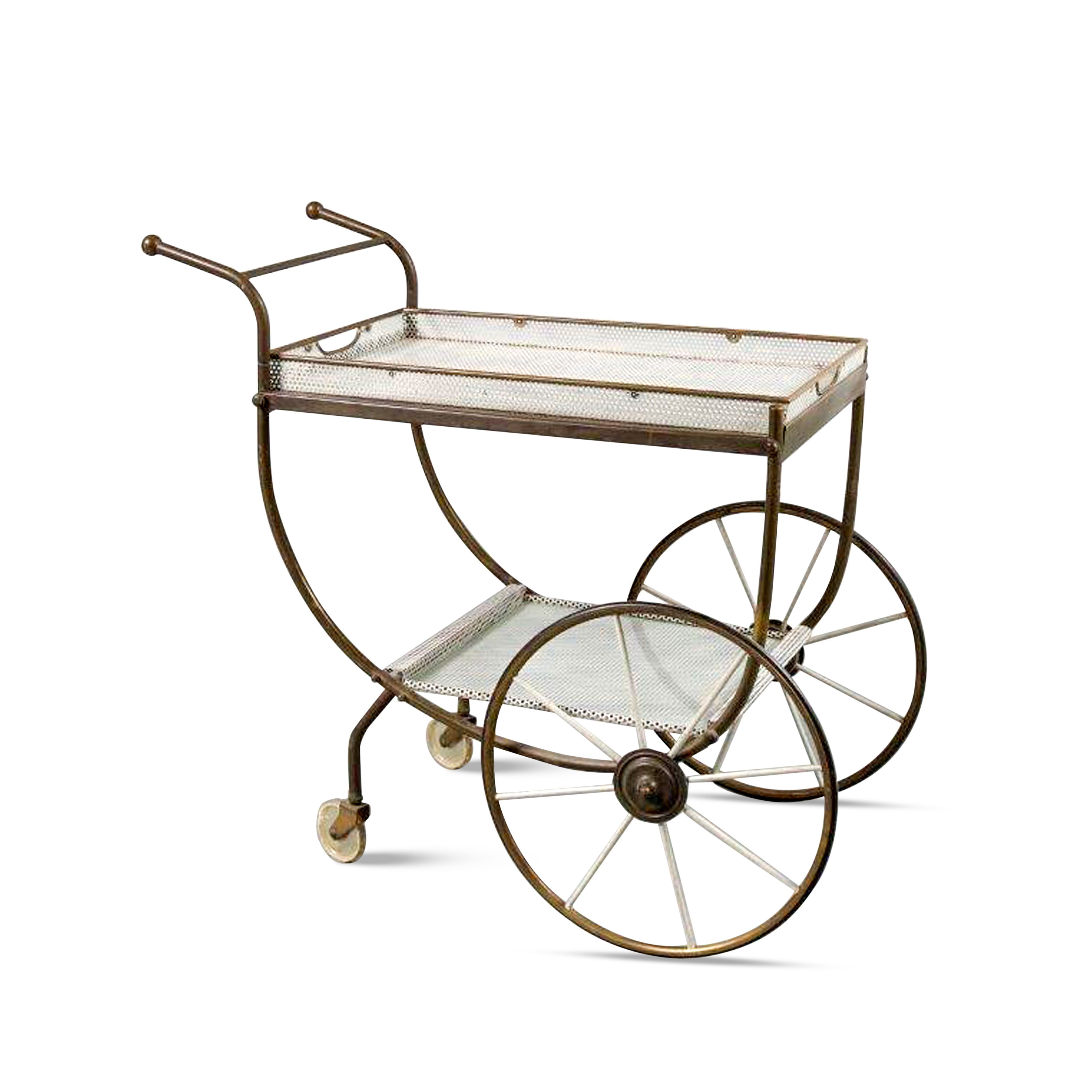 190801 (231) m23677 1950s Brass tea trolley with white perforated metal trays Svenskt Tenn Denmark