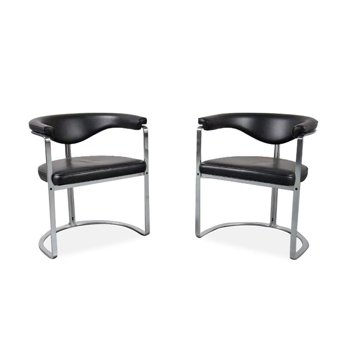 m23784 Pair of Dining Chairs in Flat Chromed Steel, for Kill Int. 1968 Horst Brüning Kill International / Germany
