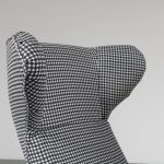 """m23026 1950s """"Ardea"""" Lounge Chair with dog tooth pattern fabric upholstery Carlo Mollino Zanotta / Italy"""