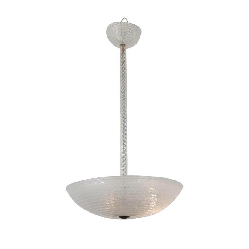 Ercole Barovier Murano Glass Hanging Lamp, Italy 1930