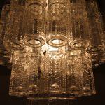 "L4346 1960s Large ceiling lamp, aluminium base with glass model ""Lightfall"" Raak / Netherlands"