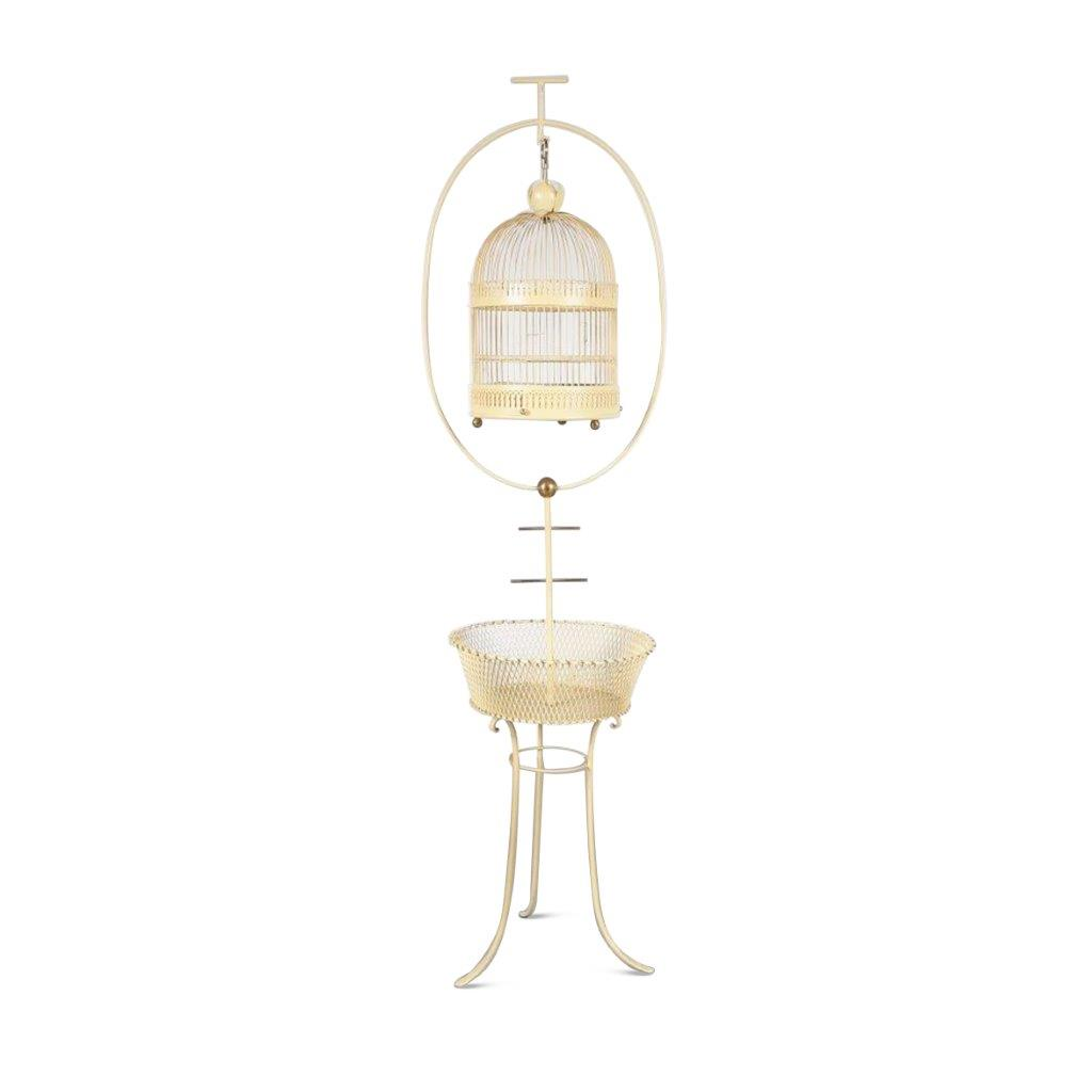 m23890 1950s Unique yellow metal bird cage on stand Italy