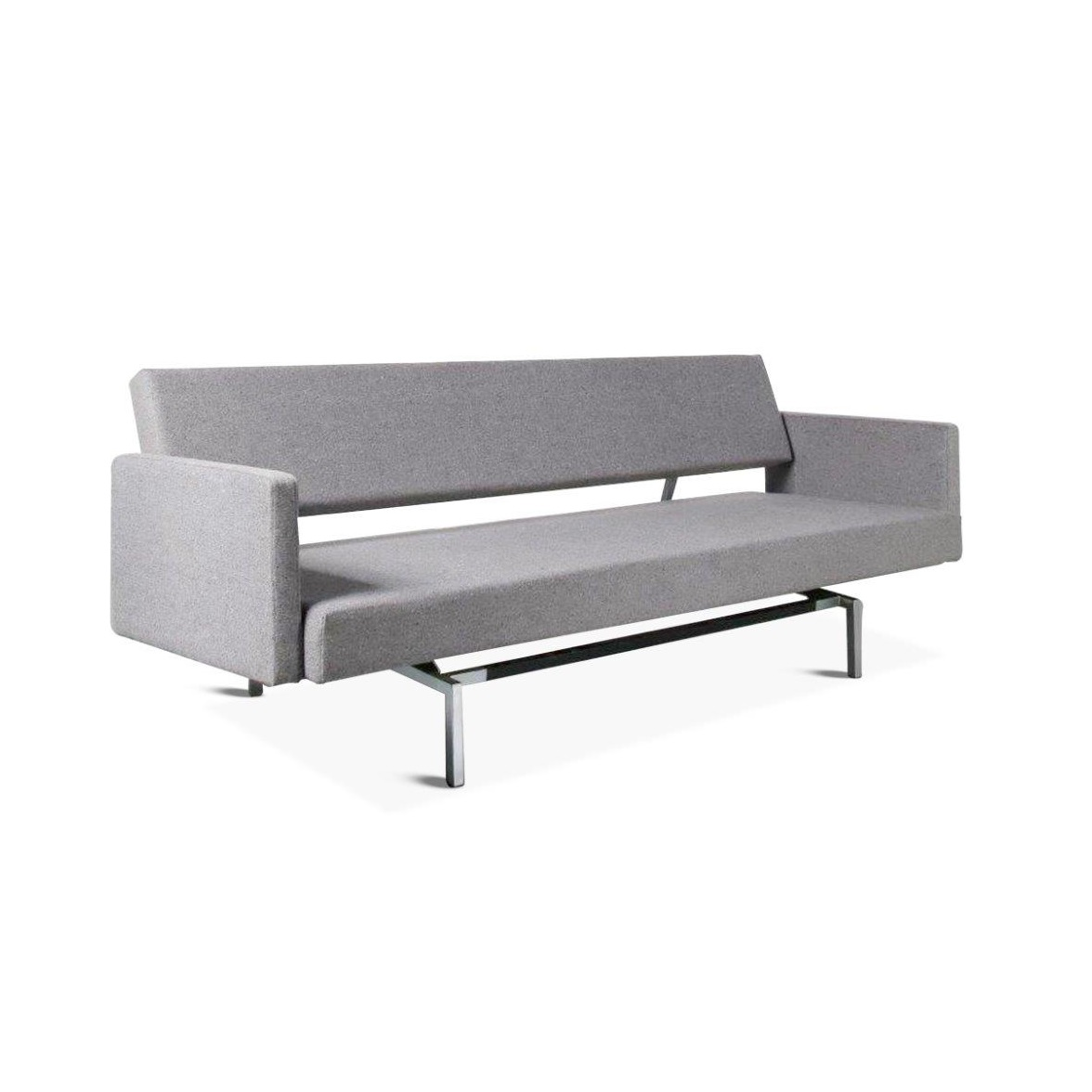 m23821 1960s 3-Seater sofa / sleeping bench on square chrome with black metal base with armrest, new dark grey Fleck Basalt upholstery Martin Visser Spectrum / Netherlands