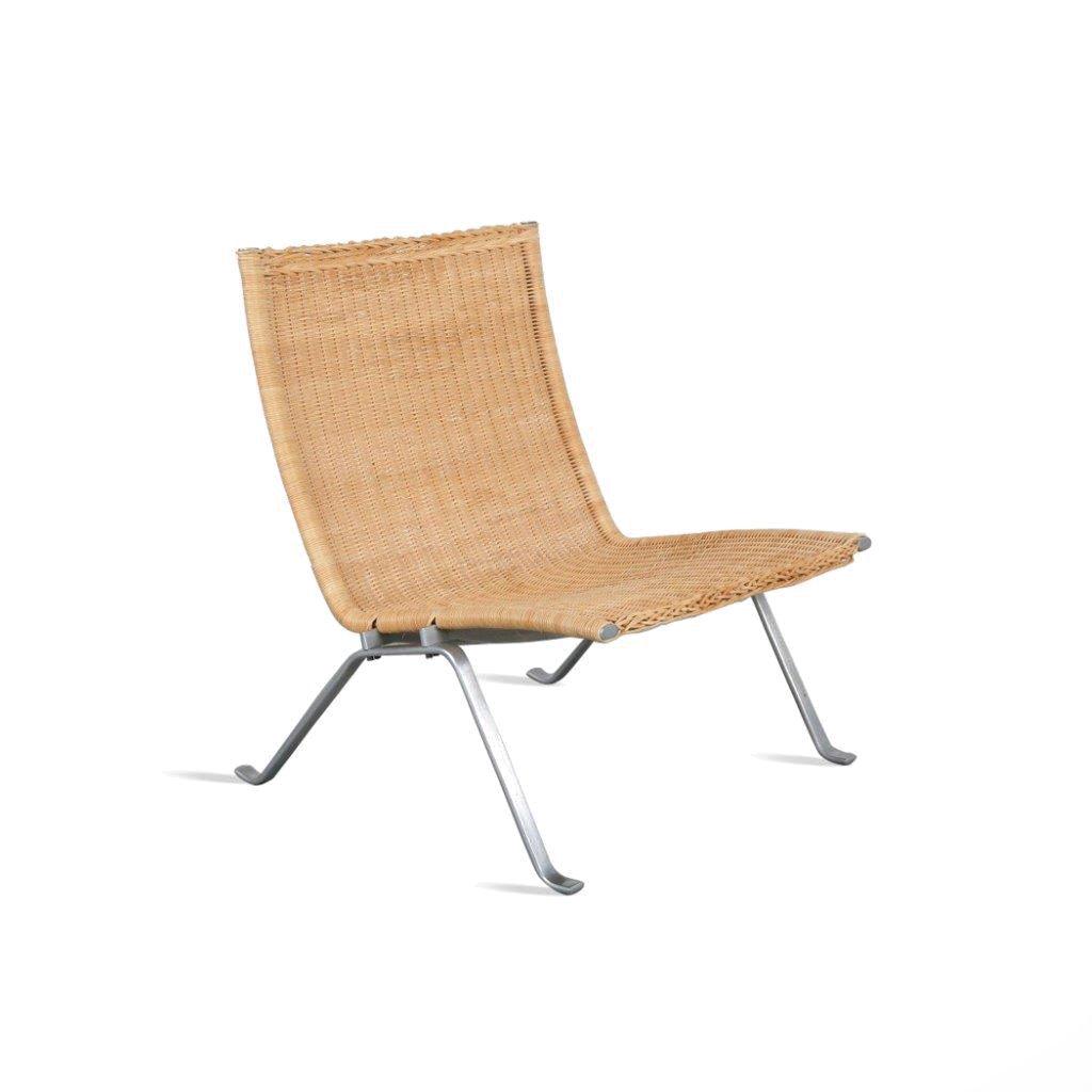D 19113 (23) m23716 1960s PK22 Easy chair in chrome brushed metal with wicker upholstery Paul Kjaerholm Kold Christensen / Denmark