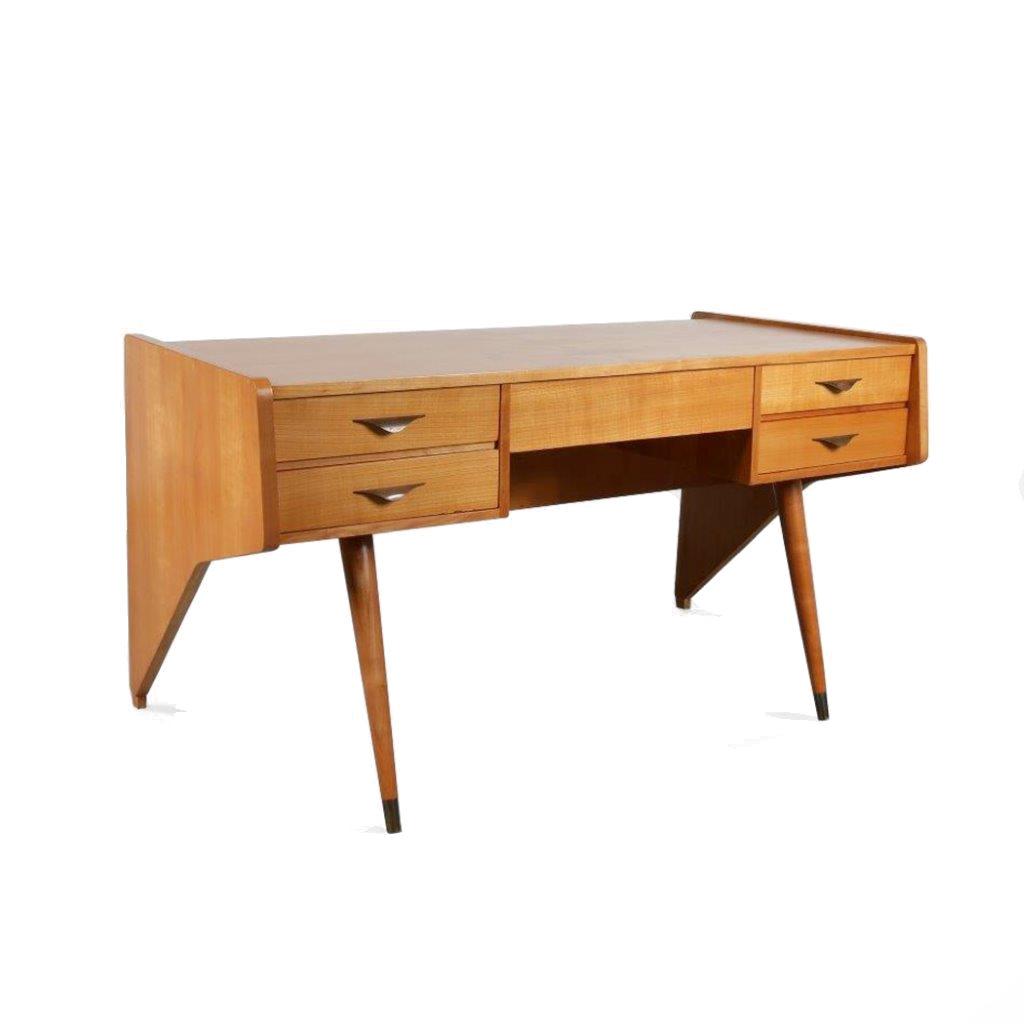 m23859 1950s Unique shaped desk model Oslo (1956) Oswald Vermaercke V-Form / Belgium