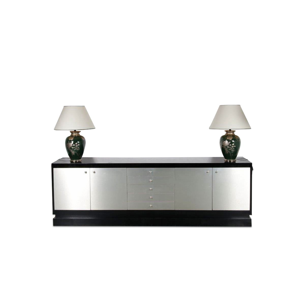 m23533 1970s XL sideboard in black wood with aluminium covered drawers and doors De Coene / Belgium