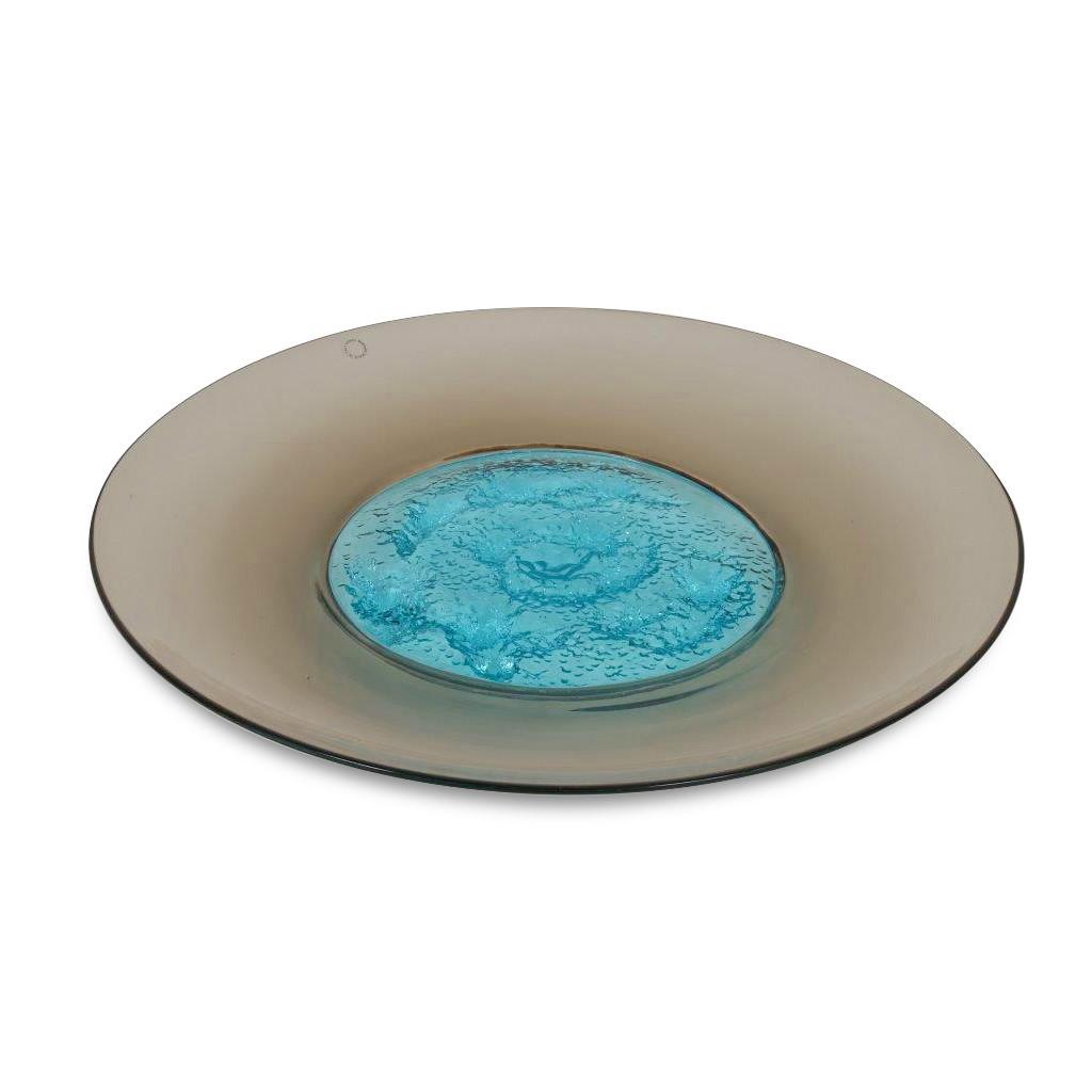 K3652 1990s Glass plate with azure blue centerpiece Tapio Wirkela Venini / Italy