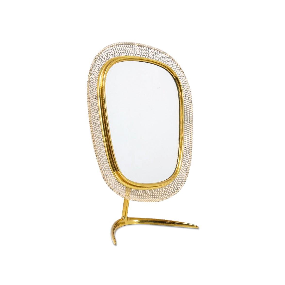 m23874 1950s Beautiful vanity mirror in brass with white perforated metal edge Vereinigte Werkstätten München / Germany
