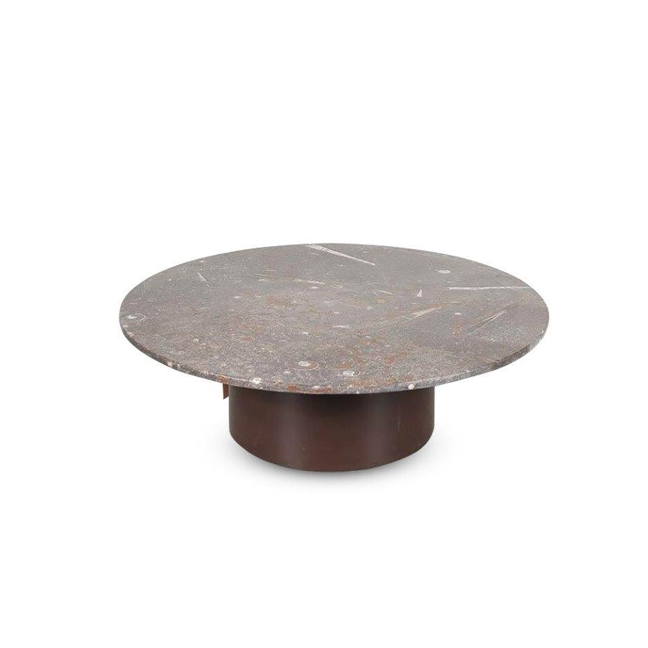 m23979 1970s Round coffee table with round metal base, stone top with fossil inlay Belgium