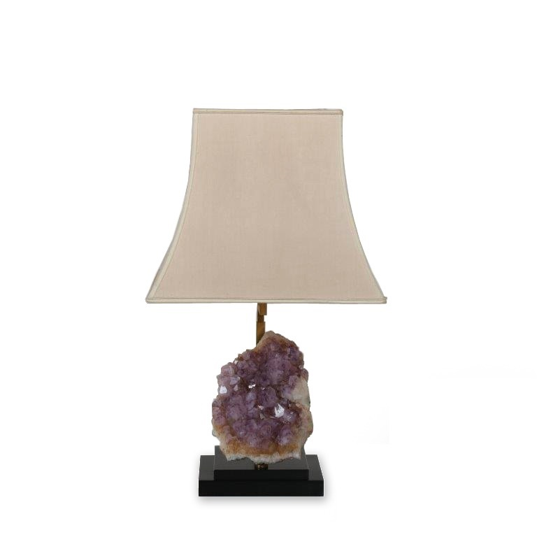 2003 D (64) L4496 1970s Black with brass table lamp with huge amethyst and fabric hood