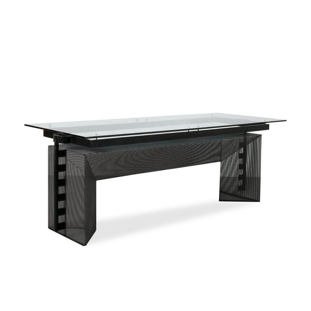 m24106 1980s Unique dining table on black perforated metal base with glass top Mario Botta Alias / Italy