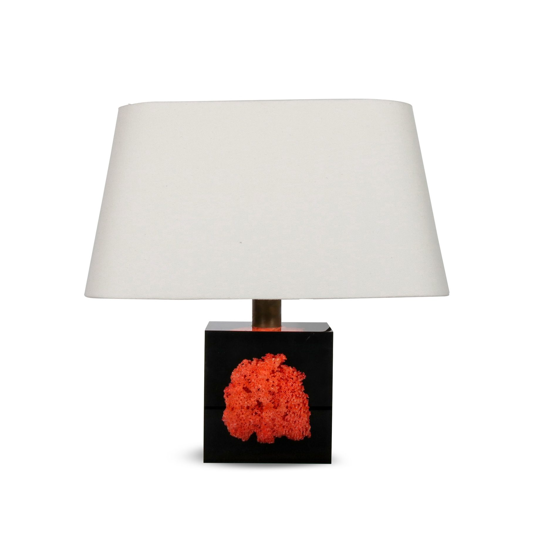2003D110 L4405 Pierre Giraudon Resin with Coral Table Lamp, France 1970
