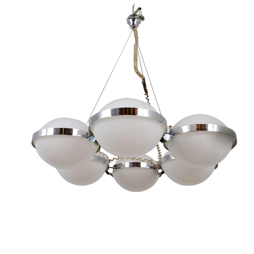L4464 1960s Large hanging lamp, chrome base with 6 white perspex disks Vest Leuchten / Austria