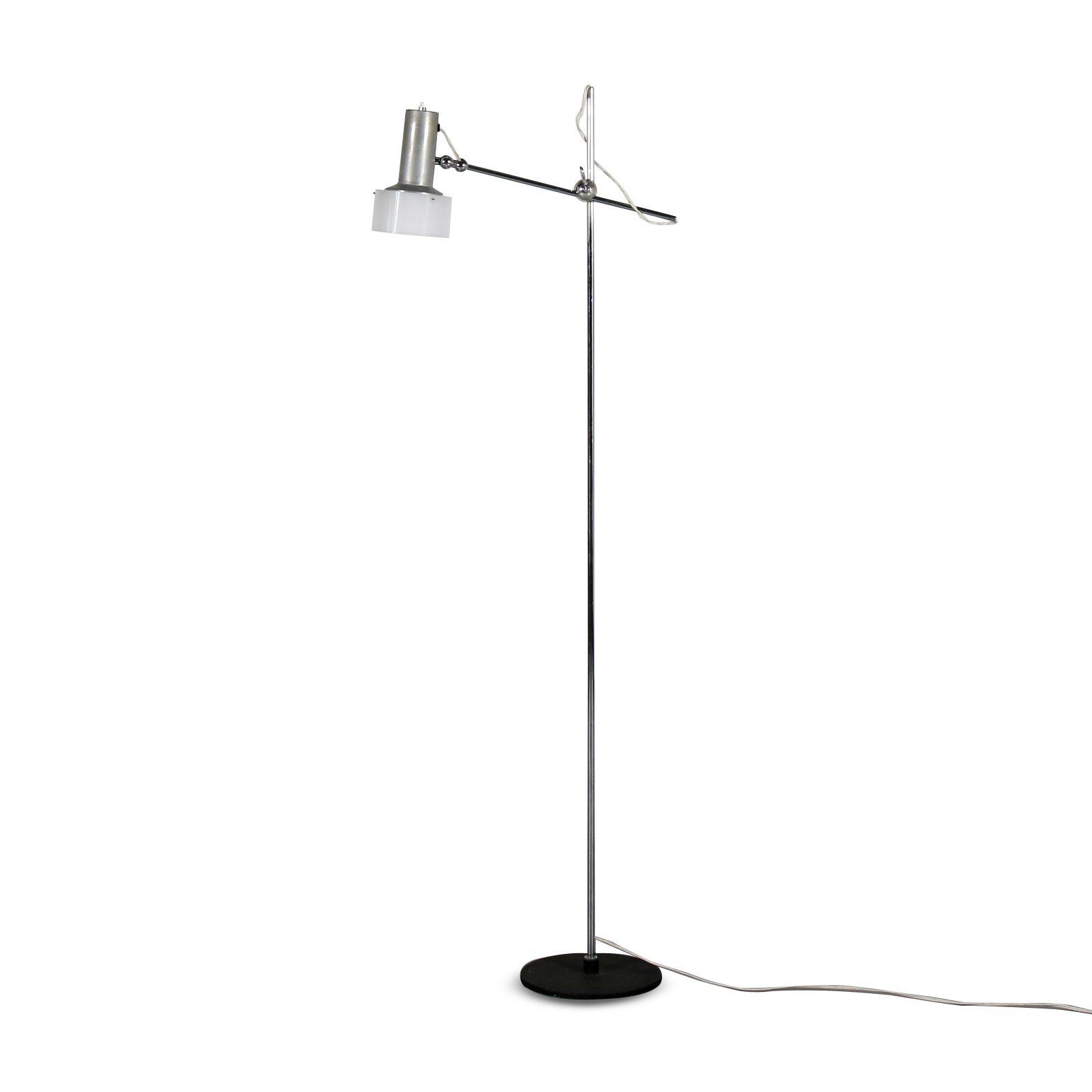"L4451 1950s ""1083"" Floor lamp in black and chrome with aluminium and plexiglass hood Gino Sarfatti Arteluce / Italy"