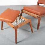 """Hunting Chair"" with stool by Uno & Osten Kristiansson, Sweden 1950"