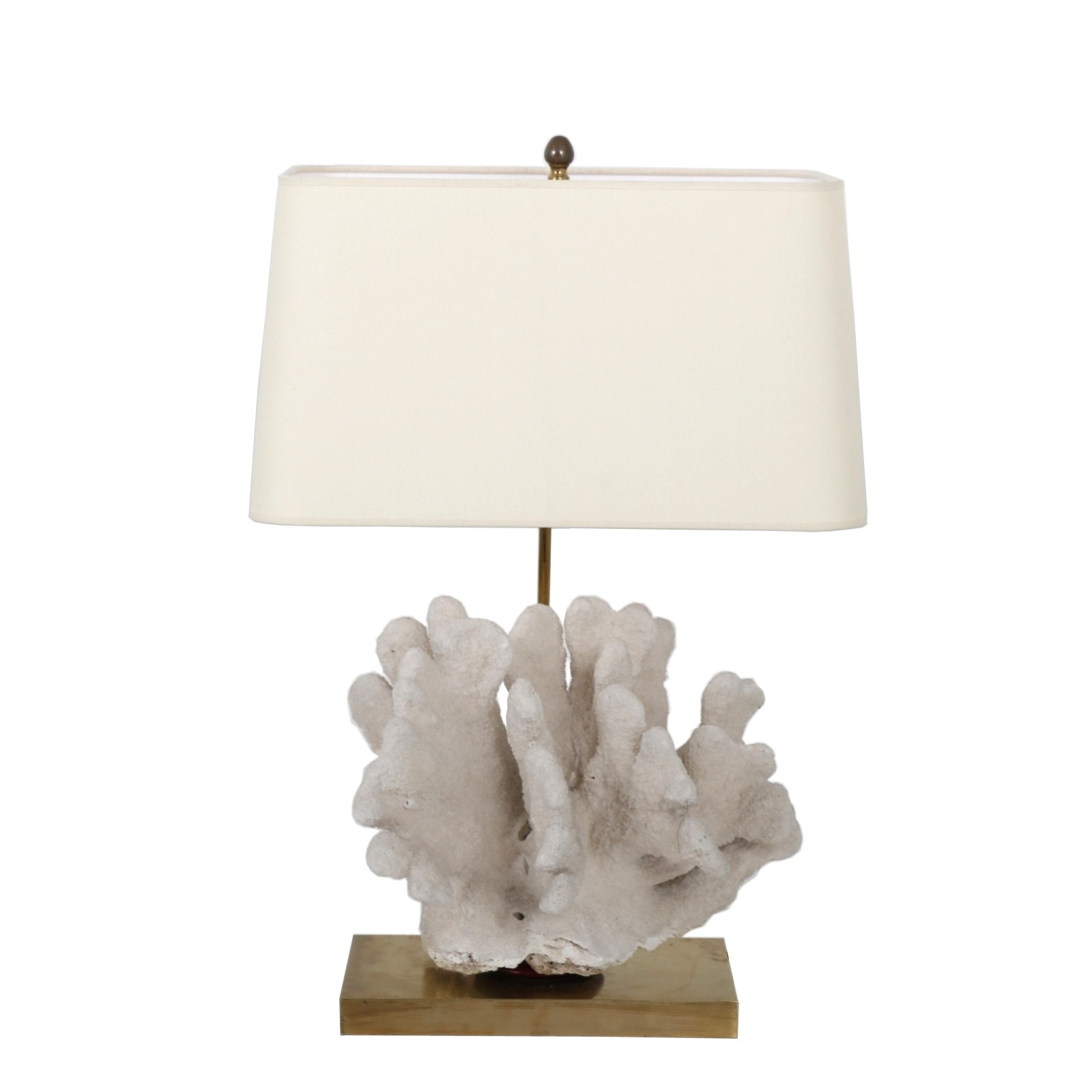 L4468 1970s Luxurious brass table lamp with large coral and fabric hood Belgium