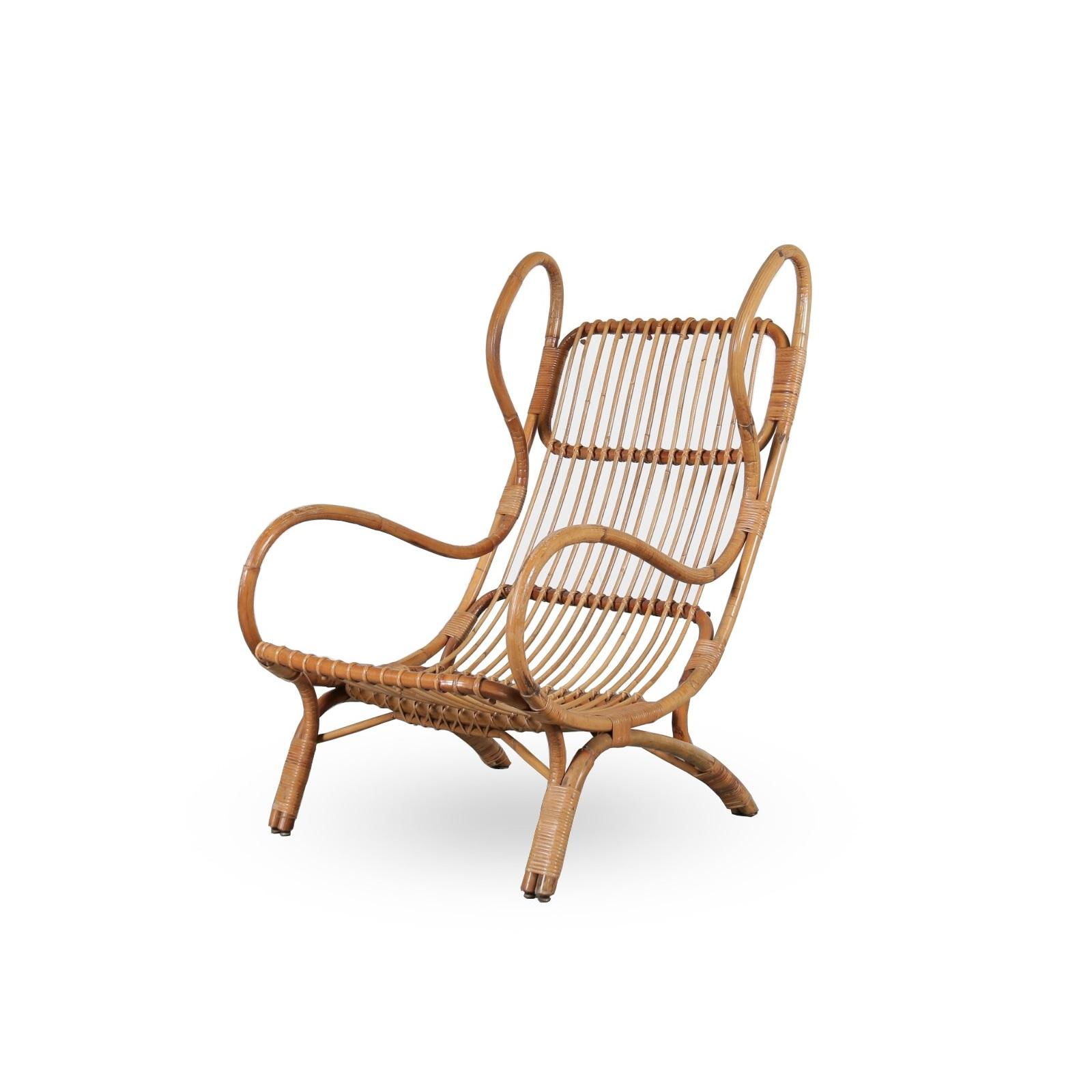 m23908 1950s Rattan easy chair Gio Ponti Bonacina / Italy