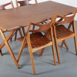 m24327 1950s teak with birch dining set four Sawbuck chairs + table H. J. Wegner Andreas Tuck / DK