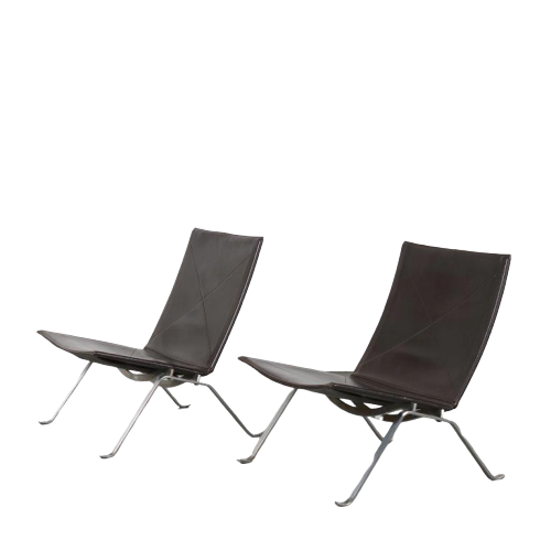 2005 3 G (68) m24363 1960s unique set of 2 PK 22 easy chairs brown leather with chrome base Poul Kjaerholm Fritz Hansen
