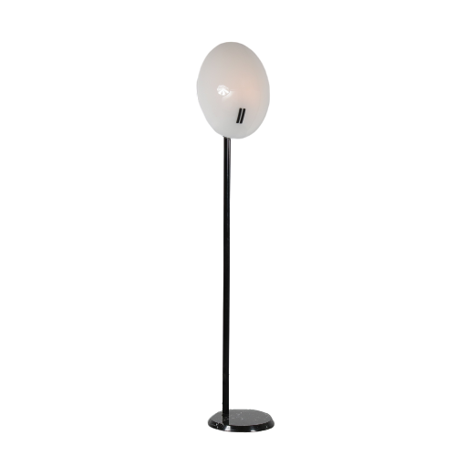 L4526 1980s unique floor lamp on marble base with glass shade Bruno Gecchelin O Luce/ Italy
