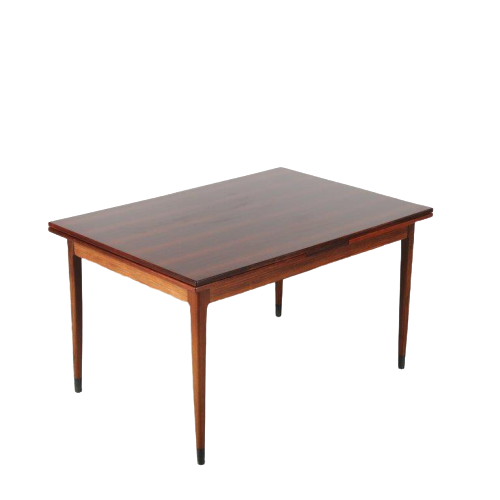 m24413 1950s rosewood extendable dining table with black ebony leg ends Muller muller / Denmark