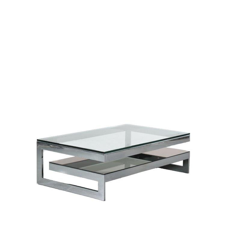 m24012 1970s Chrome metal coffee table with two thick glass tops G-model Belgo Chrom / Belgium