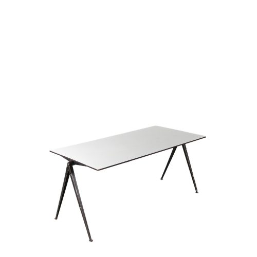 m24091-4 1950s So called pyramid table on black metal base with white trespa top Wim Rietveld Ahrend de Cirkel / Netherlands