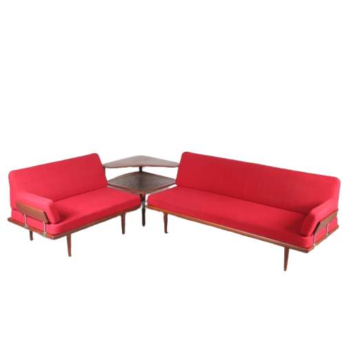 "m24570 1950s Teak with red fabric corner sofa (2-seats + 3-seats) with corner table model ""Minerva"" Peter Hvidt & Orla Mølgaard Nielsen France & Son / Denmark"