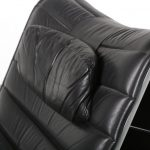 m24548 m24549 1970s Black leather with aluminium lounge chair + ottoman Eric Sigfrid Persson Möbelkultur AB / Sweden
