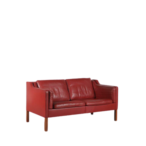 m24564-5 1960s Sofa model 2212 with redbrown leather upholstery Borge Mogensen Fredericia / Denmark