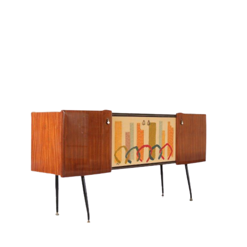 m24589 1950s Italian sideboard on black metal base with signed painting on the doors