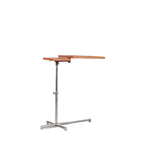 m24668 1929 Reading table, adjustable chrome metal base with two wooden tops Francois Caruelle France