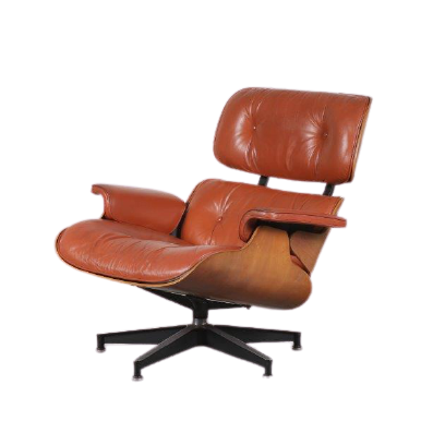 m24716 1970s lounge swivel chair on cross base, rosewood with cognaq leather Eames Herman Miller USA
