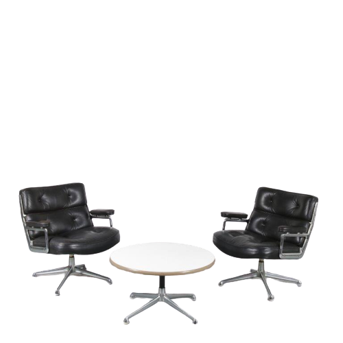m24665 1960s Pair of black leather easy chairs on aluminium swivel base with one matching coffee table model Time Life Lobby Eames Herman Miller / USA