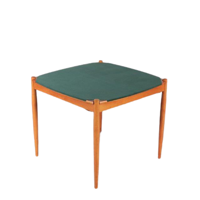 m24557 1960s Italian poker table in wood with brass ash trays Gio Ponti Fratelli Reguitti / Italy