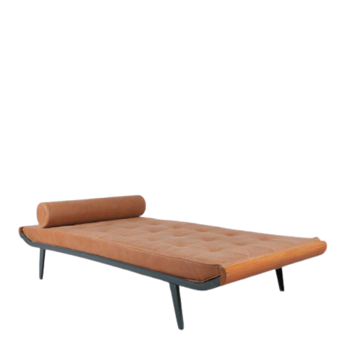 m24658 1950s Cleopatra daybed with brown leather mattress and pillow Cordemeijer Auping / Netherlands