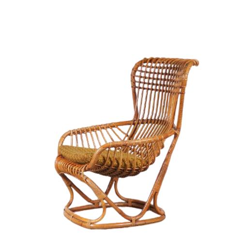m24769 1960s Italian rattan easy chair Tito Agnoli Bonancina Italy